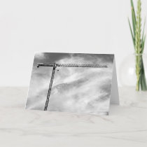 Artistic Construction Crane Black and White Photo Card