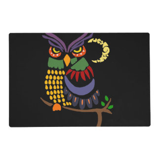 Artistic Cool Owl Abstract Art Placemat