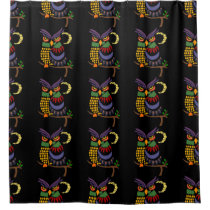 Artistic Cool Owl Abstract Art Shower Curtain