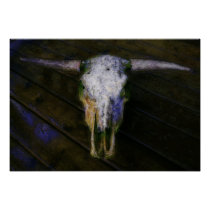 Artistic Cow Skull with Horns Poster