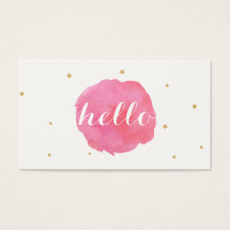 Artistic Cute Pink Watercolor Hello Greeting Business Card