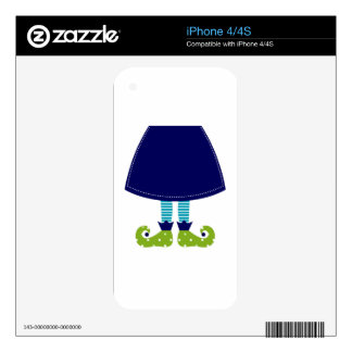 ARTISTIC CUTE WITCH LEGS BLUE SKIN FOR THE iPhone 4