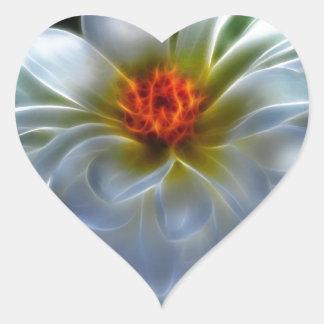 Artistic Dahlia flower Heart Sticker