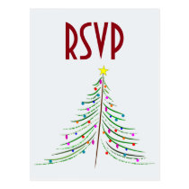 Artistic Decorated Christmas Tree RSVP Postcard