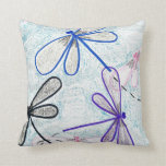 Artistic Dragonflies Throw Pillow
