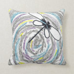 Artistic Dragonfly Throw Pillow