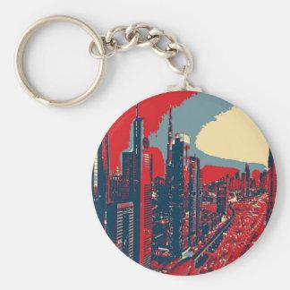 Artistic Dubai Skyline pop art Basic Round Button Keychain