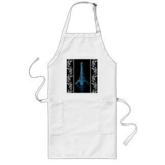 Artistic Eiffel Tower With Floral Borders Long Apron