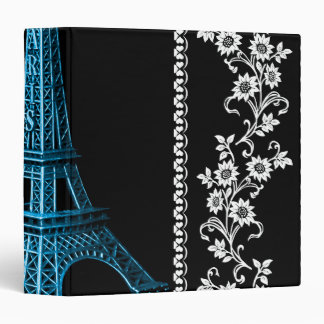 Artistic Eiffel Tower With Floral Borders Binder