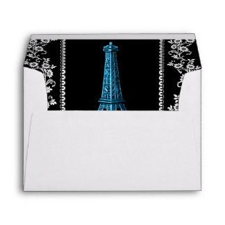 Artistic Eiffel Tower With Floral Borders Envelope
