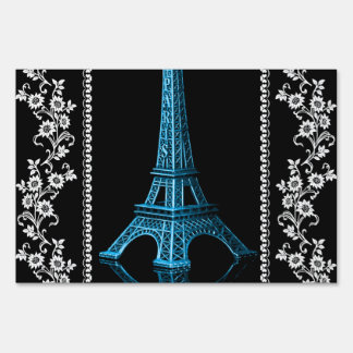 Artistic Eiffel Tower With Floral Borders Lawn Sign