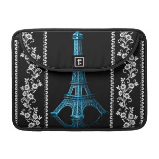 Artistic Eiffel Tower With Floral Borders MacBook Pro Sleeves