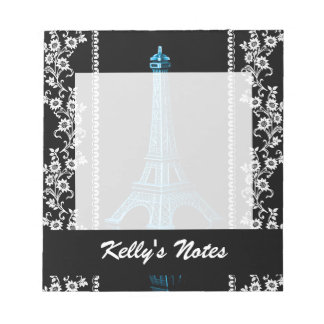 Artistic Eiffel Tower With Floral Borders Notepad