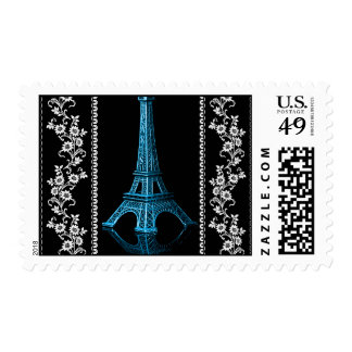 Artistic Eiffel Tower With Floral Borders Postage Stamp
