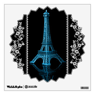 Artistic Eiffel Tower With Floral Borders Wall Sticker