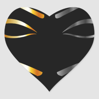 Artistic Eyes with golden and silver eyebrows Heart Sticker