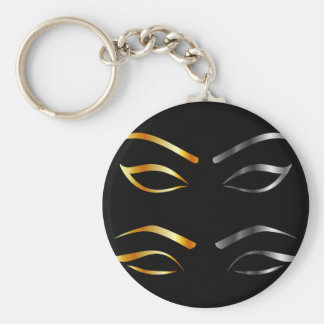 Artistic Eyes with golden and silver eyebrows Keychain