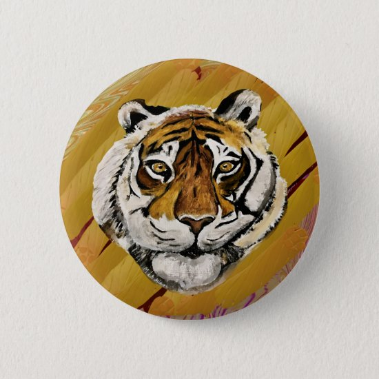 Artistic Face of Tiger Painting  Button
