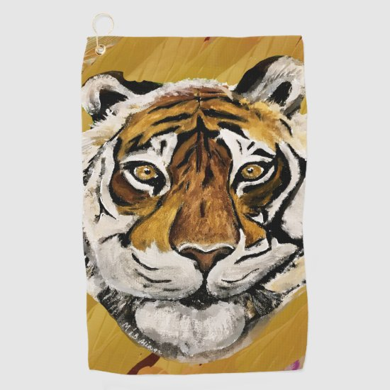 Artistic Face of Tiger Painting   Golf Towel
