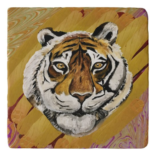 Artistic Face of Tiger Painting Trivet