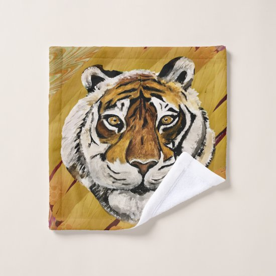 Artistic Face of Tiger Painting  Wash Cloth