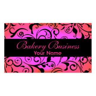 Artistic fade pink damask bakery cards Double-Sided standard business cards (Pack of 100)
