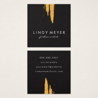 Artistic Faux Gold Brushed Vertical Square Business Card