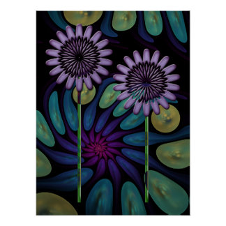 Artistic Floral poster with a Spiral background