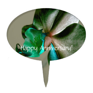Artistic Flower in Blue, Green and Grey Tones Cake Topper