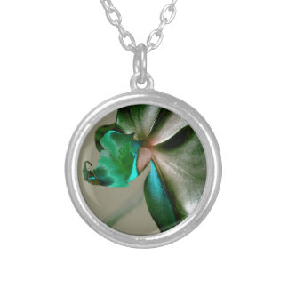 Artistic Flower in Blue, Green and Grey Tones Necklace