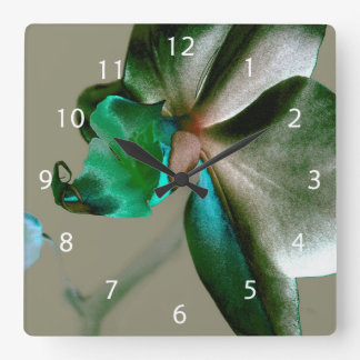 Artistic Flower in Blue, Green and Grey Tones Square Wall Clock