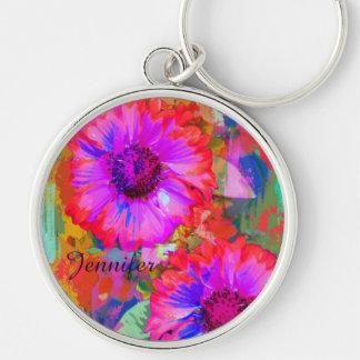 Artistic flowers & custom Name keychain