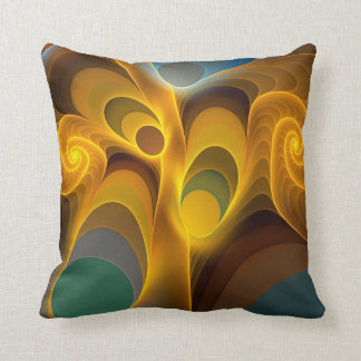 Artistic Fractal Spirals and Patterns Throw Pillow