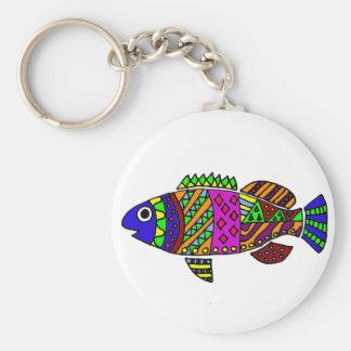 Artistic Fun Colorful Fish Art Keychain
