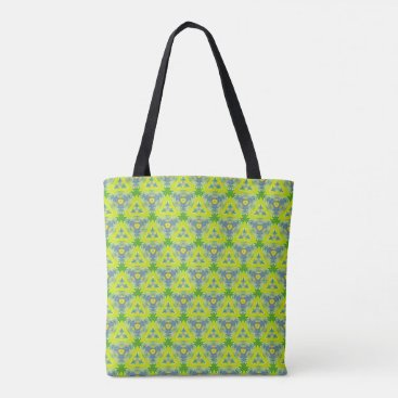 Beach Themed Artistic Funky Lime Green Pattern Tote Bag