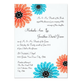 Artistic Garden Coral and Blue Wedding Card