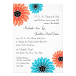Artistic Garden Coral and Blue Wedding Custom Invitations