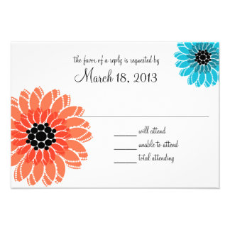 Artistic Garden Coral and Blue Wedding Personalized Invitation