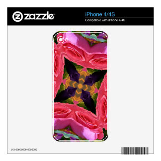 Artistic Geometrical Rose and Peach Color Design iPhone 4 Decals