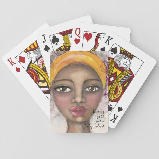 Artistic Girl Beautiful Yellow Purple Cute Artsy Playing Cards