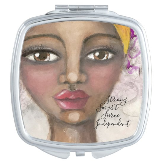 Artistic Girl Brown Eyes Yellow Purple Cute Artsy Compact Mirror