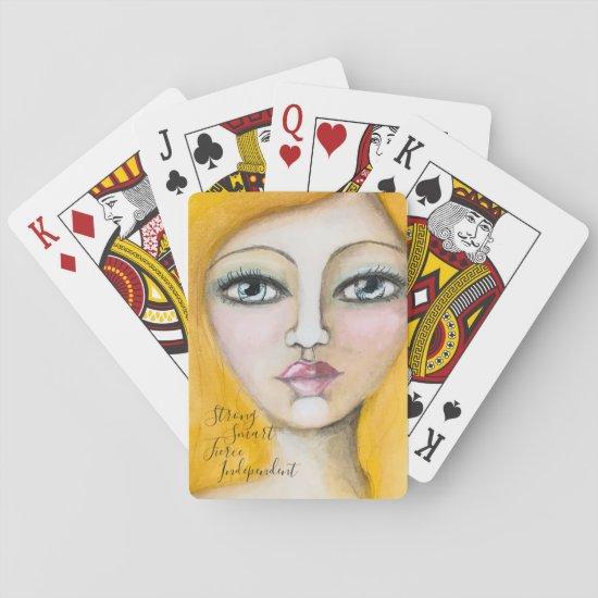 Artistic Girl Portrait Blonde Beautiful Woman Fun Playing Cards