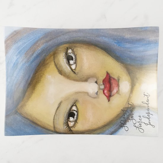 Artistic Girl Portrait Whimsical Woman Blue Hair Trinket Trays