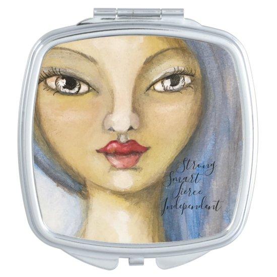 Artistic Girl Portrait Woman Blue Hair Artsy Cute Compact Mirror