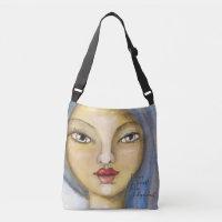 Artistic Girl Portrait Woman Blue Hair Artsy Cute Crossbody Bag