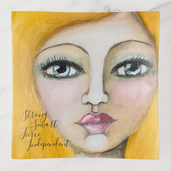 Artistic Girl Yellow Woman Fun Artsy Whimsical Trinket Trays