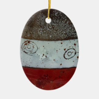 Artistic Glass Texture Double-Sided Oval Ceramic Christmas Ornament