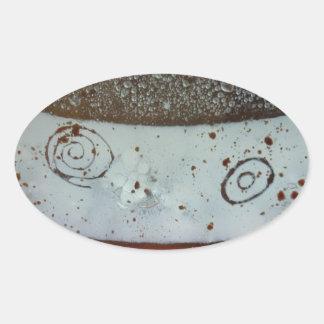 Artistic Glass Texture Oval Sticker