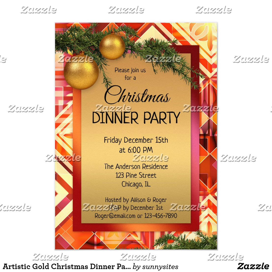 Artistic Gold Christmas Dinner Party Invitation
