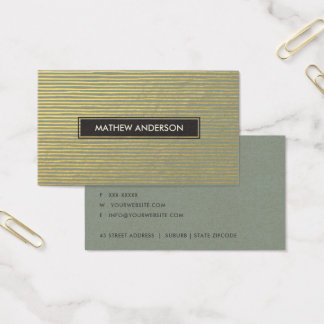 ARTISTIC GOLD FAUX SKETCH STRIPED LINE PATTERN BUSINESS CARD